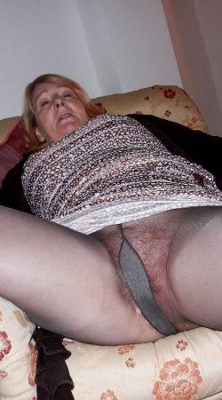 Granny in black tights.