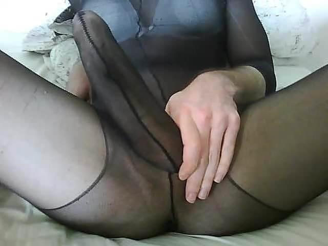 Huge cock inside black tights.
