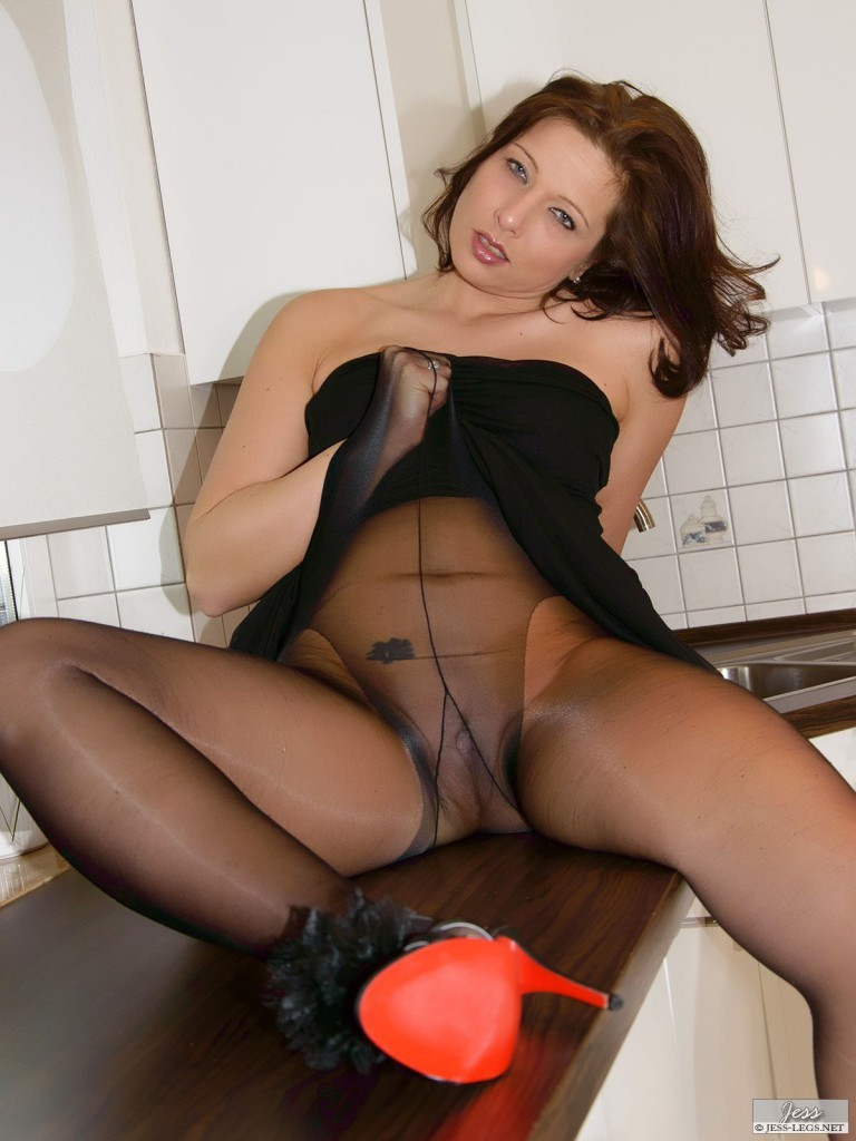 Woman in black tights pulled up high.
